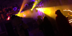 more fog and lights at a costume party